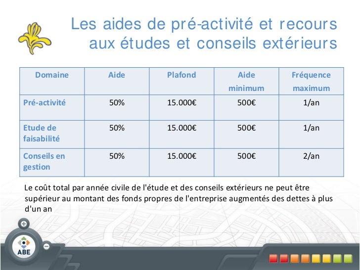 Les aides de pr é-activité et r ecour s                 aux études et conseils extér ieur s   Domaine            Aide     ...