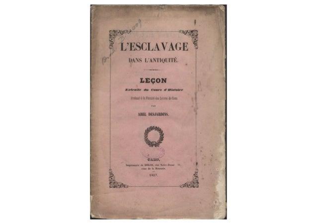 Abel Desjardins. Leçon sur l'esclavage dans l'Antiquité (1857)