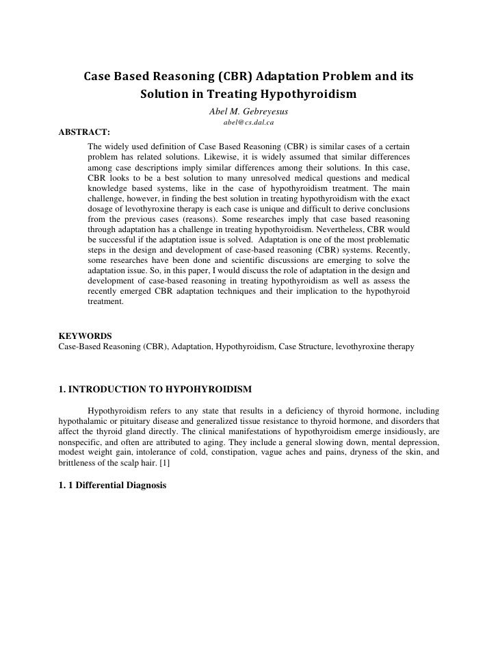 Case Based Reasoning (CBR) Adaptation Problem and its                 Solution in Treating Hypothyroidism                 ...