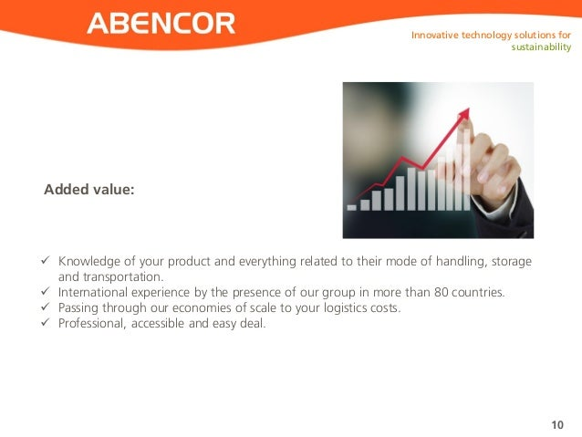 ABENCOR Added value: Innovative technology solutions for sustainability 10  Knowledge of your product and everything rela...