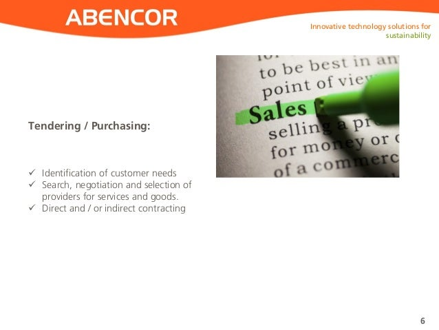 ABENCOR Tendering / Purchasing: Innovative technology solutions for sustainability 6  Identification of customer needs  ...