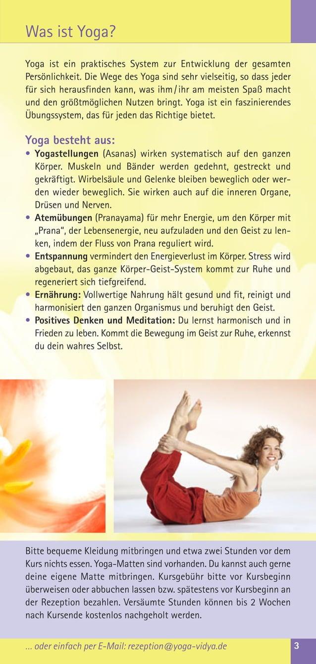 Yoga ist ein praktisches System zur Entwicklung der gesamtenPersönlichkeit. Die Wege des Yoga sind sehr vielseitig, so das...