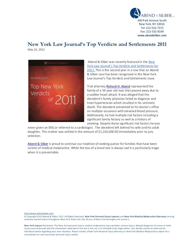 Abend & Silber - Top NY Verdicts 2011