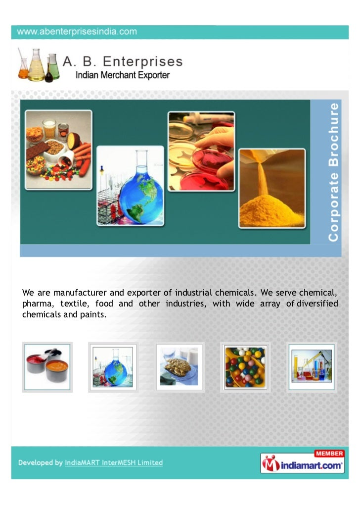 We are manufacturer and exporter of industrial chemicals. We serve chemical,pharma, textile, food and other industries, wi...