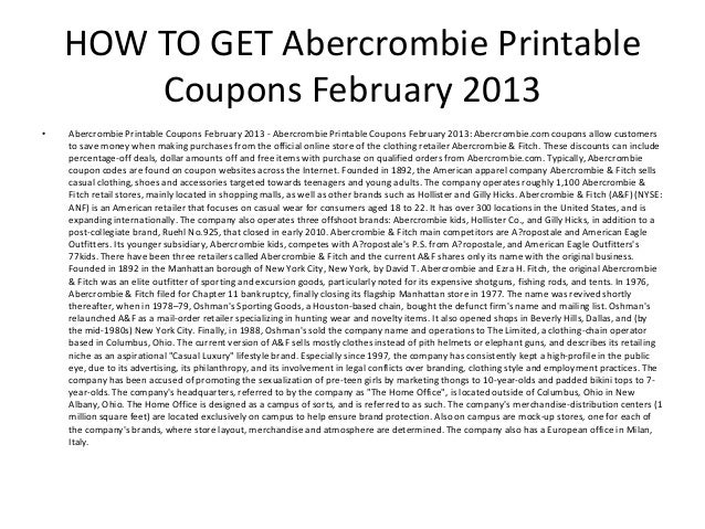 abercrombie printable coupons february 2013 2