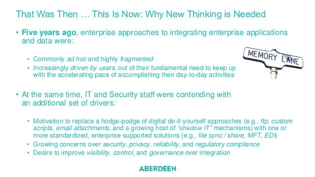 That Was Then … This Is Now: Why New Thinking is Needed • Five years ago, enterprise approaches to integrating enterprise ...