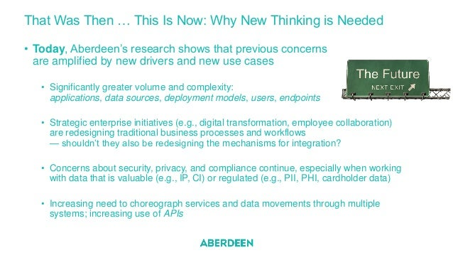 That Was Then … This Is Now: Why New Thinking is Needed • Today, Aberdeen's research shows that previous concerns are ampl...