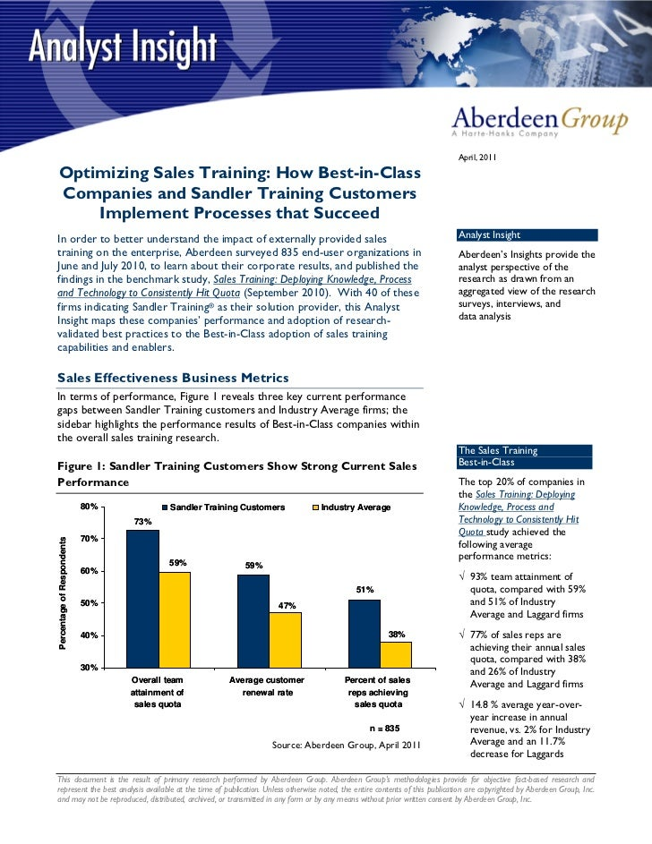 April, 2011Optimizing Sales Training: How Best-in-ClassCompanies and Sandler Training Customers    Implement Processes tha...