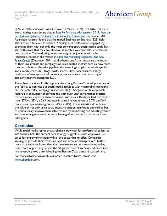 Social Selling: Best-in-Class Targeting of the Right Message, at the Right Time, for the Right Person Page 7 © 2012 Aberde...