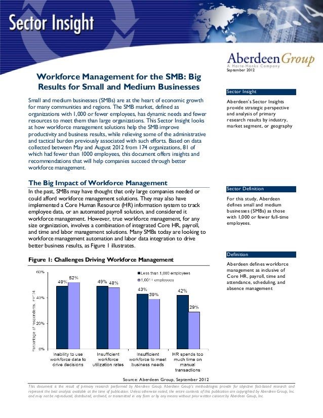 September 2012    Workforce Management for the SMB: Big    Results for Small and Medium Businesses                        ...