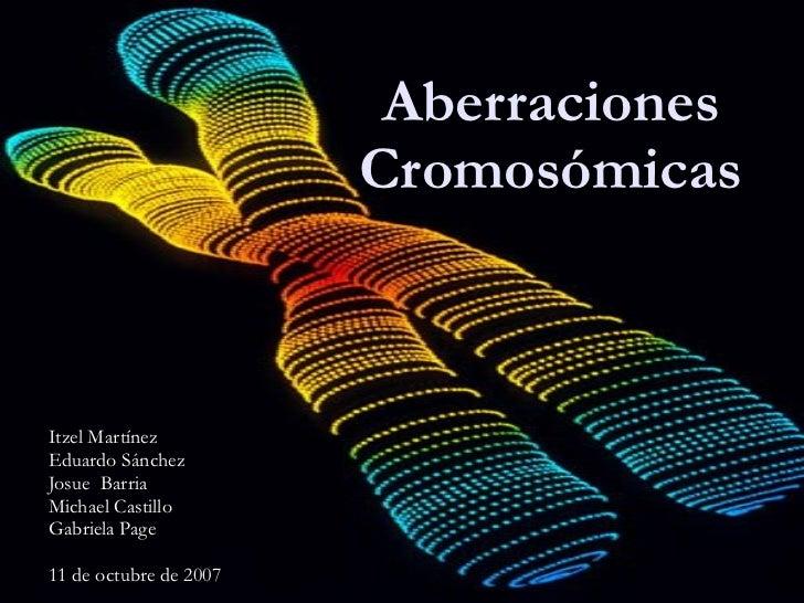 Aberraciones Cromosómicas <ul><ul><li>Itzel Martínez </li></ul></ul><ul><ul><li>Eduardo Sánchez </li></ul></ul><ul><ul><li...