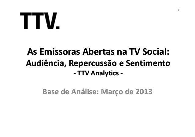 As Emissoras Abertas na TV Social:As Emissoras Abertas na TV Social:Audiência, Repercussão e SentimentoAudiência, Repercus...