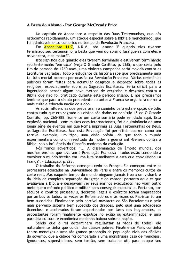 A Besta do Abismo - Por George McCready Price      No capítulo do Apocalipse a respeito das Duas Testemunhas, que nósestud...