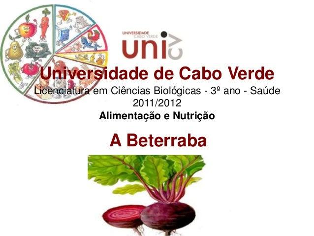 Universidade de Cabo VerdeLicenciatura em Ciências Biológicas - 3º ano - Saúde                    2011/2012              A...