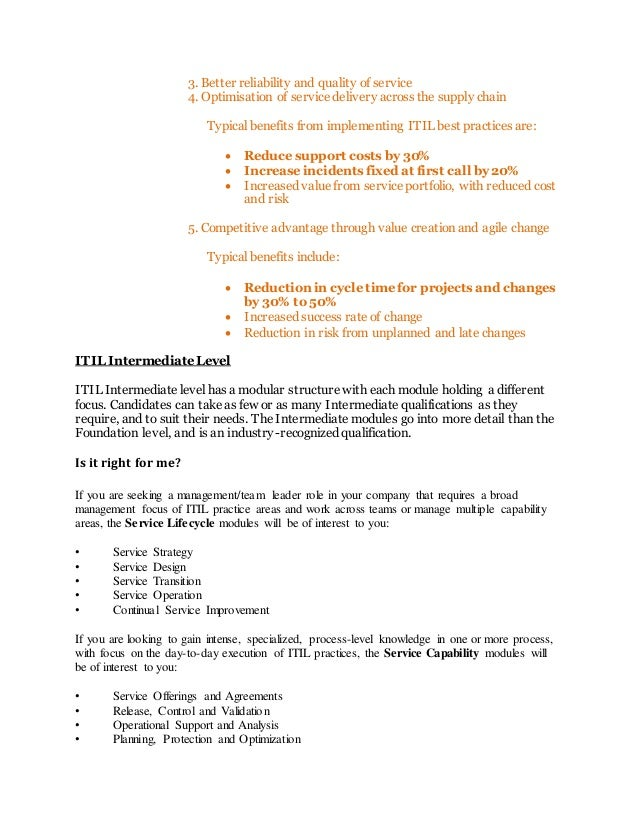A Better Way Of Working With Itil Intermediate Level Certification