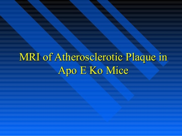 MRI of Atherosclerotic Plaque inMRI of Atherosclerotic Plaque in Apo E Ko MiceApo E Ko Mice
