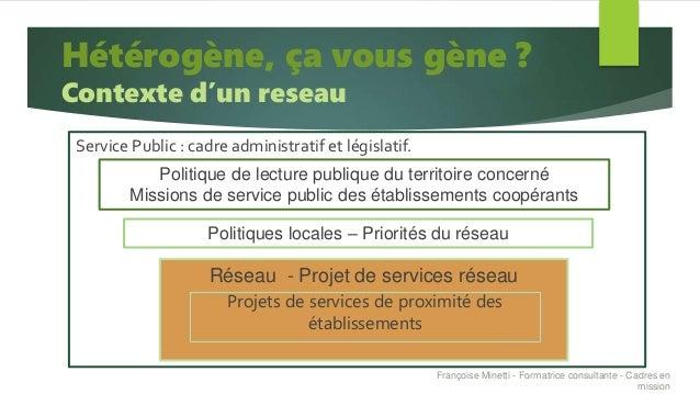 Service Public : cadre administratif et législatif. Hétérogène, ça vous gène ? Contexte d'un reseau Politique de lecture p...