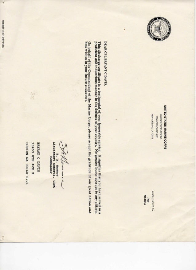 Certificate Of Honorable Discharge 2012