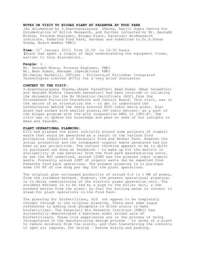Biogas Plant visit Jan 31 2013 incorporating comments of S…