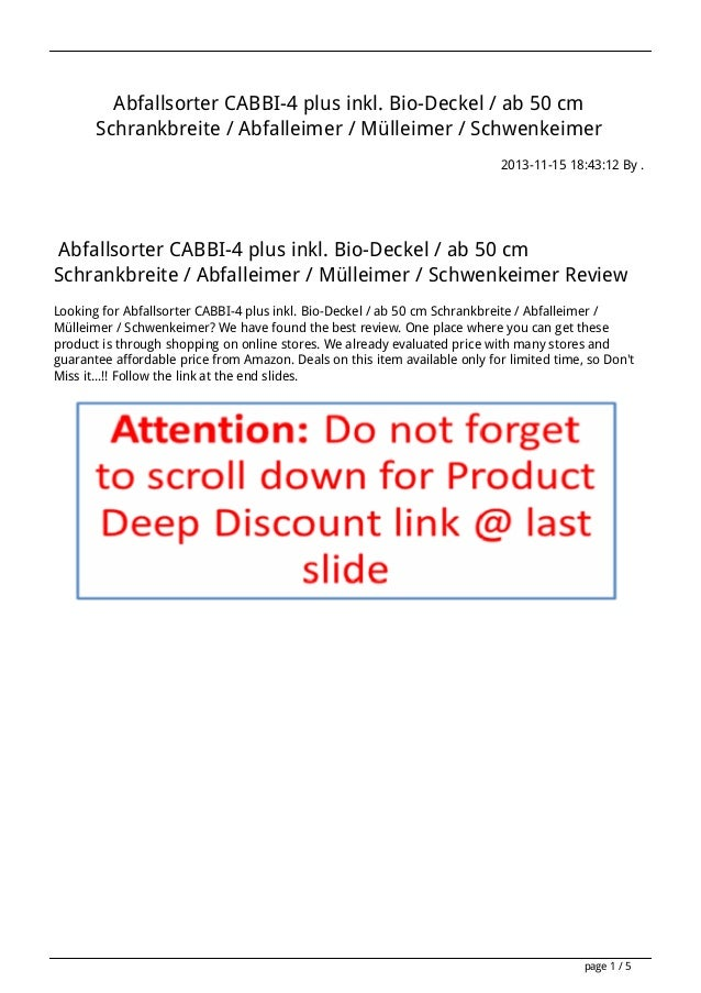 Abfallsorter CABBI-4 plus inkl. Bio-Deckel / ab 50 cm Schrankbreite / Abfalleimer / Mülleimer / Schwenkeimer 2013-11-15 18...