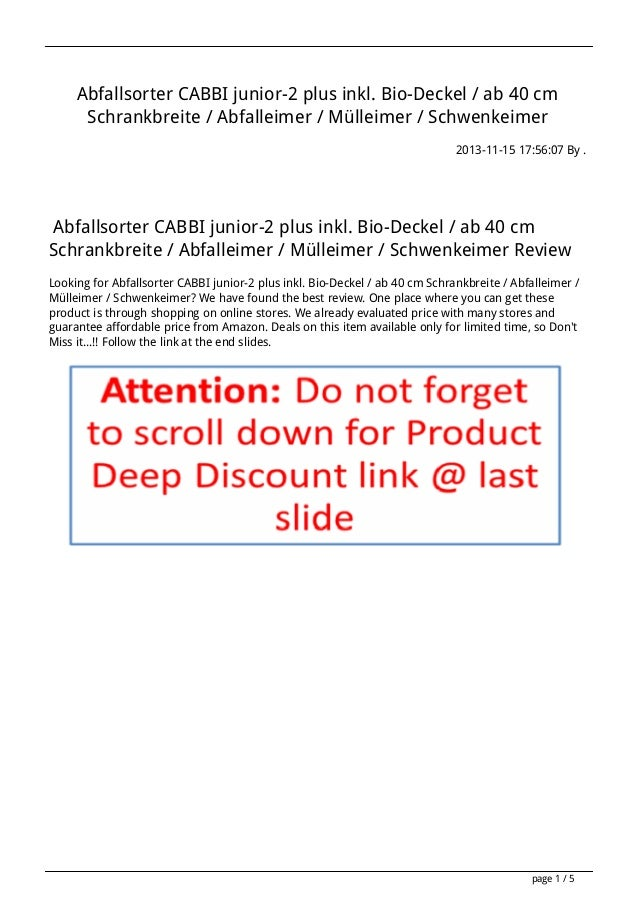 Abfallsorter CABBI junior-2 plus inkl. Bio-Deckel / ab 40 cm Schrankbreite / Abfalleimer / Mülleimer / Schwenkeimer 2013-1...