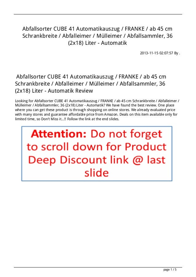 Abfallsorter CUBE 41 Automatikauszug / FRANKE / ab 45 cm Schrankbreite / Abfalleimer / Mülleimer / Abfallsammler, 36 (2x18...