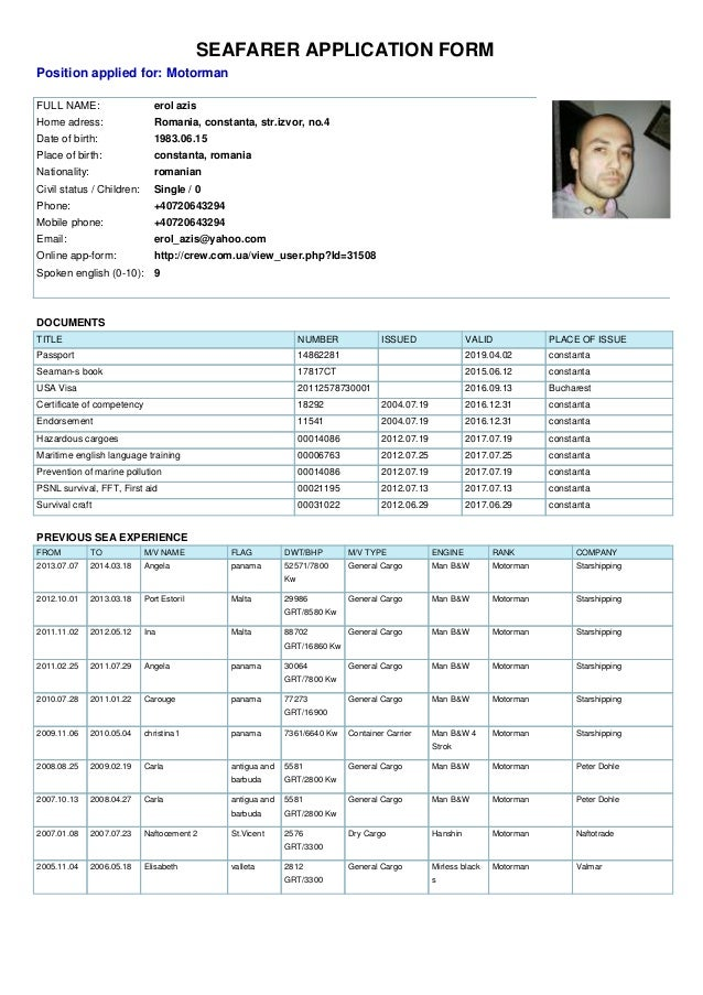 Application Form For Motorman Azis Erol