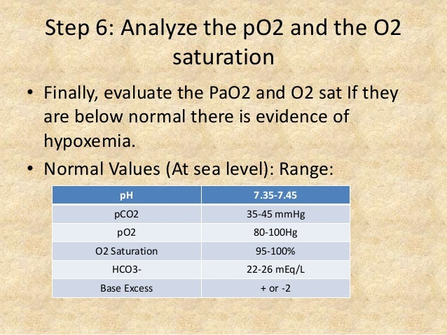 Step 6: Analyze the pO2 and the O2 saturation • Finally, evaluate the PaO2 and O2 sat If they are below normal there is ev...