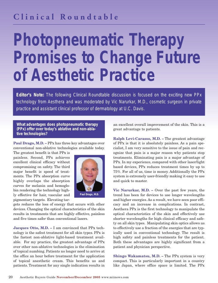 Photopneumatic Therapy      Clinical Roundtable          Promises to Change Future      of Aesthetic Practice       Editor...