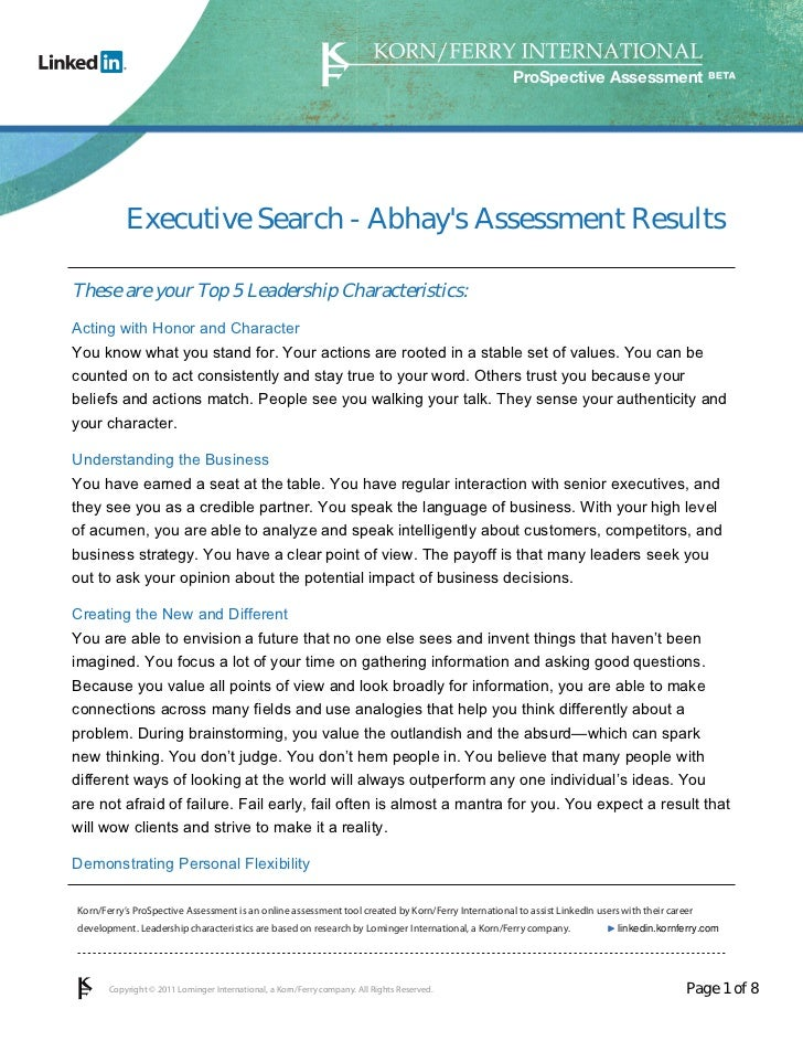 ProSpective Assessment           Executive Search - Abhays Assessment ResultsThese are your Top 5 Leadership Characteristi...