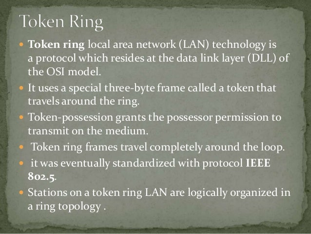 ethernet and token ring The basics of network cabling explained, with tutorials on ethernet, token ring, fibre, and how to install structured cabling systems also included is a guide to.