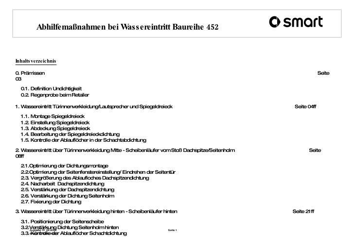 Inhaltsverzeichnis 0. Prämissen     Seite 03 0.1. Definition Undichtigkeit 0.2. Regenprobe beim Retailer 1. Wassereintritt...
