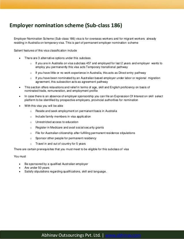 the employer nomination scheme visa subclass 186 pdf