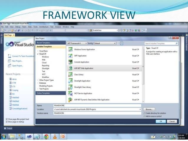 .NET Framework View Framework Class Library ADO.NET Network XML Security Threading Diagnostics IO Etc. Common Language Run...