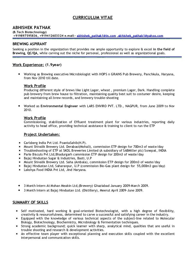 brewery resume example Success