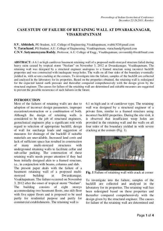 Proceedings of Indian Geotechnical Conference December 22-24,2013, Roorkee  CASE STUDY OF FAILURE OF RETAINING WALL AT DWA...