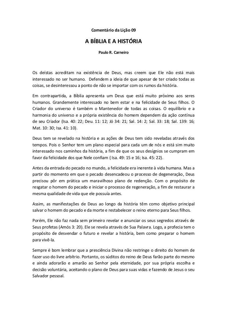 Comentário da Lição 09                             A BÍBLIA E A HISTÓRIA                                     Paulo R. Carn...