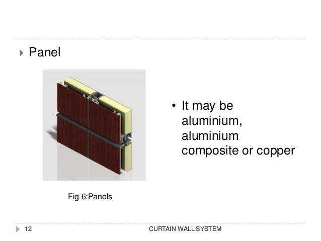 CURTAIN WALL SYSTEM  Panel CURTAIN WALL SYSTEM12 • It may be aluminium, aluminium composite or copper Fig 6:Panels 12