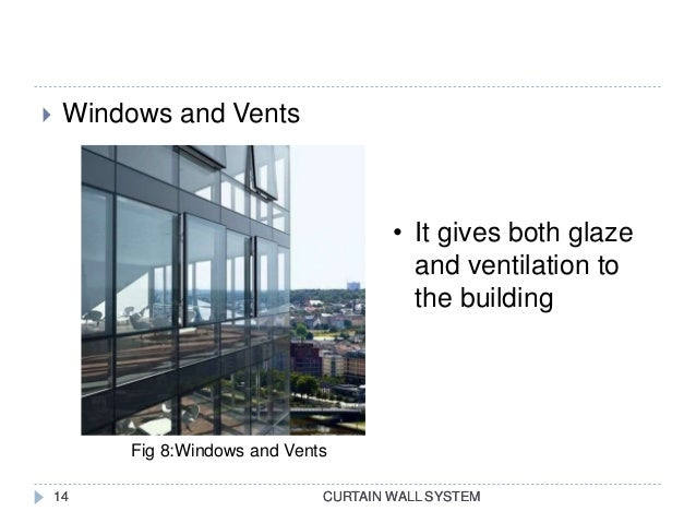 CURTAIN WALL SYSTEM  Windows and Vents CURTAIN WALL SYSTEM14 • It gives both glaze and ventilation to the building Fig 8:...