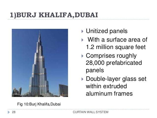 1)BURJ KHALIFA,DUBAI CURTAIN WALL SYSTEM28  Unitized panels  With a surface area of 1.2 million square feet  Comprises ...