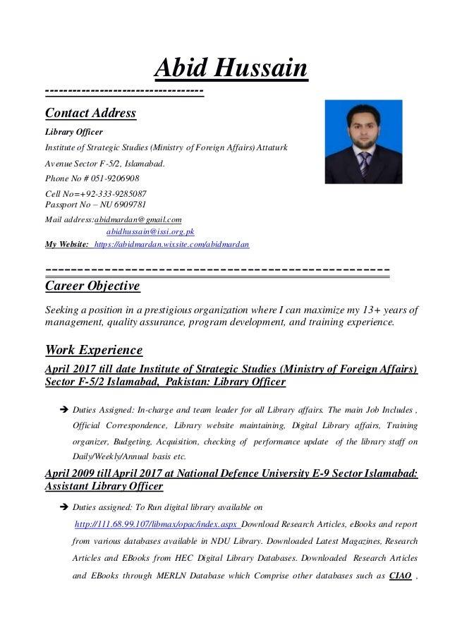 Abid Hussain Cv 2018