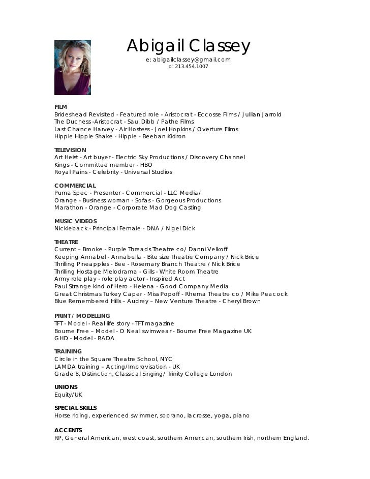 Abigail Classey Acting Resume   Acting Resume Beginner