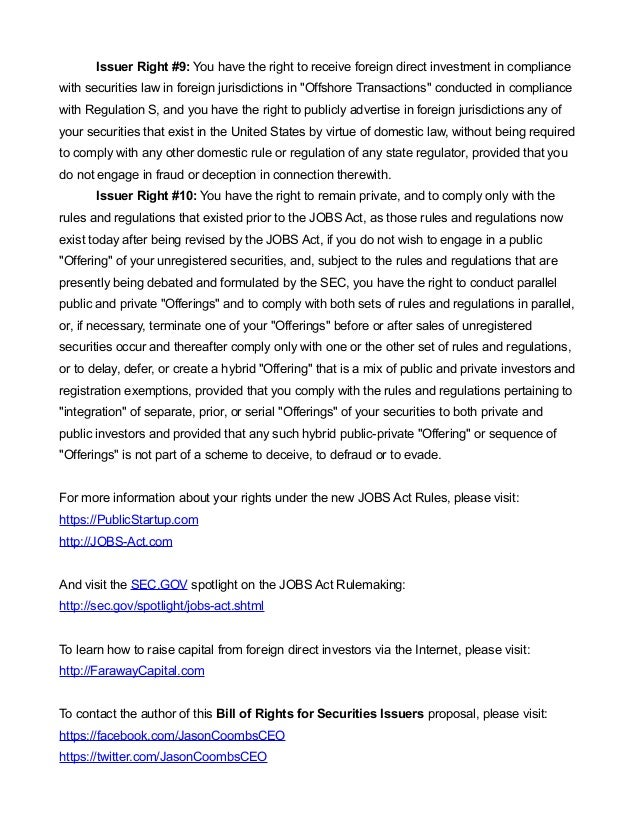 A Bill of Rights for Securities Issuers Under The Jobs Act Slide 3