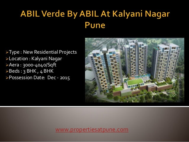 Type : New Residential Projects Location : Kalyani Nagar Aera : 3000-4040/Sqft Beds : 3 BHK , 4 BHK Possession Date: ...