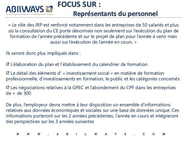 FOCUS SUR :  Représentants du personnel  « Le rôle des IRP est renforcé notamment dans les entreprises de 50 salariés et p...