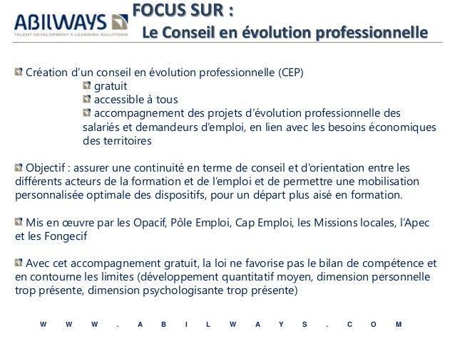 FOCUS SUR :  Le Conseil en évolution professionnelle  Création d'un conseil en évolution professionnelle (CEP)  gratuit  a...
