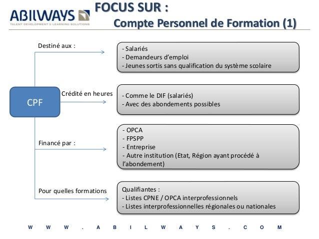 FOCUS SUR :  Compte Personnel de Formation (1)  - Salariés  - Demandeurs d'emploi  - Jeunes sortis sans qualification du s...