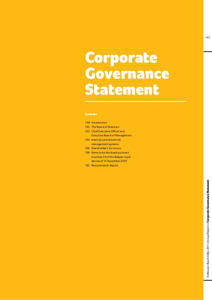 147CorporateGovernanceStatementContents148	 Introduction150	 The Board of Directors153	 Chief Executive Officer and		 Exec...