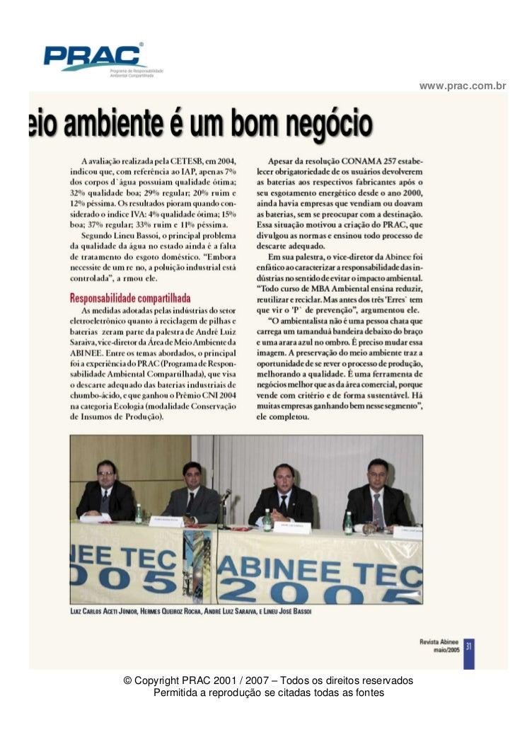www.prac.com.br© Copyright PRAC 2001 / 2007 – Todos os direitos reservados     Permitida a reprodução se citadas todas as ...