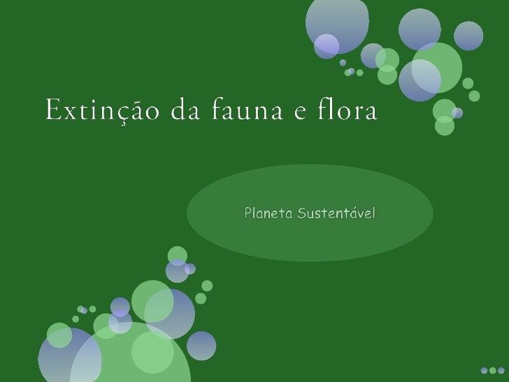 Extinção da fauna e flora <br />Planeta Sustentável<br />